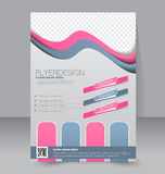 Flyer template. Business brochure. Editable A4 poster. For design, education, presentation, website, magazine cover. Pink and grey color Royalty Free Stock Photo