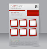 Flyer template. Business brochure. Editable A4 poster. For design, education, presentation, website, magazine cover. Red color Royalty Free Stock Photos