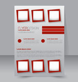 Flyer template. Business brochure. Editable A4 poster. For design, education, presentation, website, magazine cover. Red color Stock Images