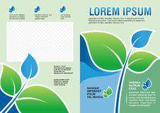 Flyer template design with leaves and eco concept - Back and front Stock Photo
