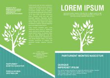 Flyer template design with leaves and eco concept - Back and front Stock Photos