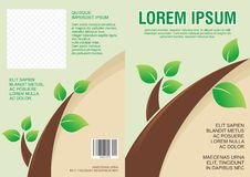 Flyer template design with leaves and eco concept - Back and front Royalty Free Stock Image