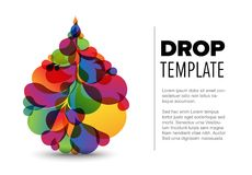 Flyer template with droplet. Abstract flyer template with colorful droplet made from small color drops royalty free illustration