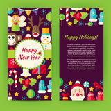 Flyer Template of Flat Happy New Year Objects and Elements. Flat Style Design Vector Illustration of Brand Identity for Merry Christmas Promotion. Colorful royalty free illustration
