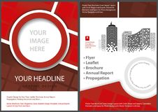 Flyer Template Front and Back in Red Tones Royalty Free Stock Photo
