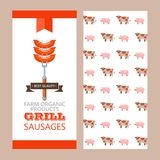 Barbecue, grill. Emblem, logo. Colorful vector illustration in f. Flyer template. Grilled sausages on the fork. Best quality, farm products. The template of the Royalty Free Stock Photo