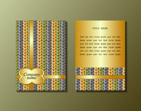 Flyer template with knitting pattern. Greeting card design. Front page and back page. Vector Stock Photography
