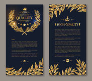 Flyer template laurel wreath and gold confetti Royalty Free Stock Photography