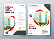 Flyer template layout design. Business flyer, brochure, magazine or flier mockup in bright colors. Vector.  royalty free illustration