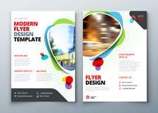 Flyer template layout design. Business flyer, brochure, magazine or flier mockup in bright colors. Vector.  stock illustration
