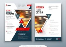 Flyer template layout design. Business flyer, brochure, magazine or flier mockup with triangular in bright colors. Vector royalty free illustration