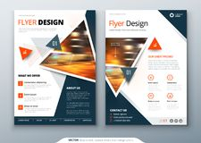 Flyer template layout design. Business flyer, brochure, magazine or flier mockup with triangular in bright colors. Vector stock illustration