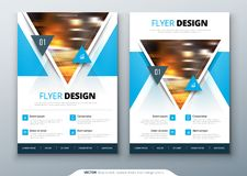 Flyer template layout design. Business flyer, brochure, magazine or flier mockup with triangular in bright colors. Vector vector illustration