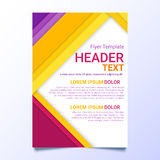 Flyer template in a material design style. Modern poster business template.  Brochure template with colorful text. Stock Photography