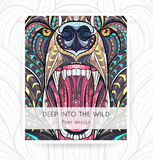 Flyer template with patterned head of the bear. Royalty Free Stock Images