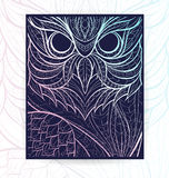 Flyer template with patterned owl. Tattoo design. It may be used for design of a t-shirt, bag, postcard, a poster, brochure and so on. Cover template with owl Royalty Free Stock Photos