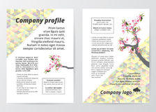 Flyer template sakura tree (cherry blossom) illustration on colorful low polygon background. Stock Photography