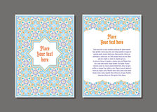 Flyer template set. Templates flyer and invitation card in Oriental design. Floral ornament and pattern in a Moorish style. Arabesque Stock Images