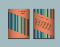 Flyer template with striped pattern. Greeting card design. Front page and back page. Vector Royalty Free Stock Photo