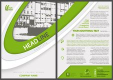 Flyer Template with Stripes and City Drawing royalty free illustration