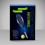 Flyer template. Vector sport elements for design. Tennis symbols Royalty Free Stock Photos