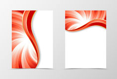 Flyer template vortex design. Abstract flyer template in red color with silver lines. Bright wavy spectrum flyer design. Vector illustration Stock Photo