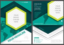 Flyer Template with World Map Background Stock Image