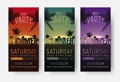 Flyer templates for a summer party. Design of vertical banners stock illustration