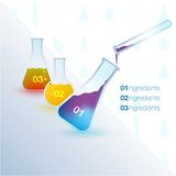 Flyer with test tubes and formulas Royalty Free Stock Photo
