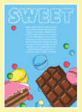 Flyer on the theme of food and sweets on blue background Stock Photo