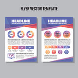 Flyer vector template with infographic, timeline and world map. Brochure vector template. Brochure geometric design. Royalty Free Stock Images