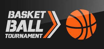 Flyer or web banner design with basketball ball icon Stock Images