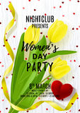 Flyer for Women`s Day party Royalty Free Stock Images