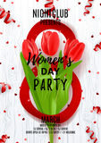 Flyer for Women`s Day party Stock Images