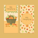 Flyers, banners for Thanksgiving day with pumpkins Royalty Free Stock Photo