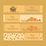 Flyers, banners for Thanksgiving day with pumpkins Royalty Free Stock Photography
