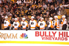 Flyers Bench. View of the 2011-12 Philadelphia Flyers bench Stock Photo