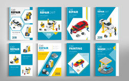 Flyers for Car repair or car service concept. Template of flyear, magazines, posters, book cover, banners. Layout vector illustrations modern pages Royalty Free Stock Photos