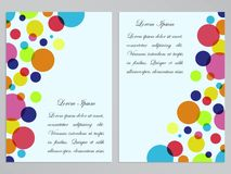 Flyers with colorful circles design. Jolly and festive flyer design. Colorful circles on white background Stock Photo