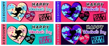 FLYERS FOR A DISCOUNT TO THE SALE FOR VALENTINE`S DAY. FLYERS FOR A DISCOUNT TO THE SALE OF VALENTINE`S DAY IN FOUR COLOR VARIATIONS WITH CLOUDS, CUPID Stock Image