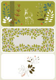 Flyers with Fawn and Floral Pattern Stock Photos