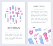 Flyers for hair removal. Set flyers for hair removal salon. Promotional products. Flat design. Vector illustration Stock Photos
