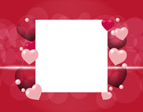 Flyers or invitation card for the holiday Valentine`s Day. Semi transparent hearts on a red background. Place for Royalty Free Stock Images