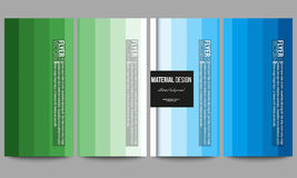 Flyers set. Abstract colorful business background, blue and green colors, modern stylish striped vector texture for your Stock Photography