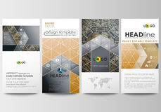 Flyers set, modern banners. Business templates. Cover design template, abstract flat layouts. Golden technology Royalty Free Stock Photography