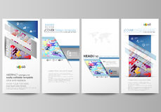 Flyers set, modern banners. Business templates. Cover design template, abstract vector layouts. Bright color lines and Royalty Free Stock Images