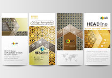 Flyers set, modern banners. Business templates. Cover design template, easy editable, flat layouts. Islamic gold pattern Royalty Free Stock Photography