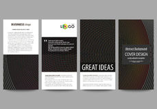Flyers set, modern banners. Business templates. Cover design template, easy editable vector layouts. Dark color abstract Stock Photography