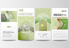 Flyers set, modern banners. Business templates. Cover design template, flat layouts. Green color background with leaves. Flyers set, modern banners. Business Stock Photo