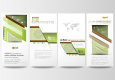 Flyers set, modern banners. Business templates. Cover design template, flat layouts. Green color background with leaves. Flyers set, modern banners. Business Royalty Free Stock Images